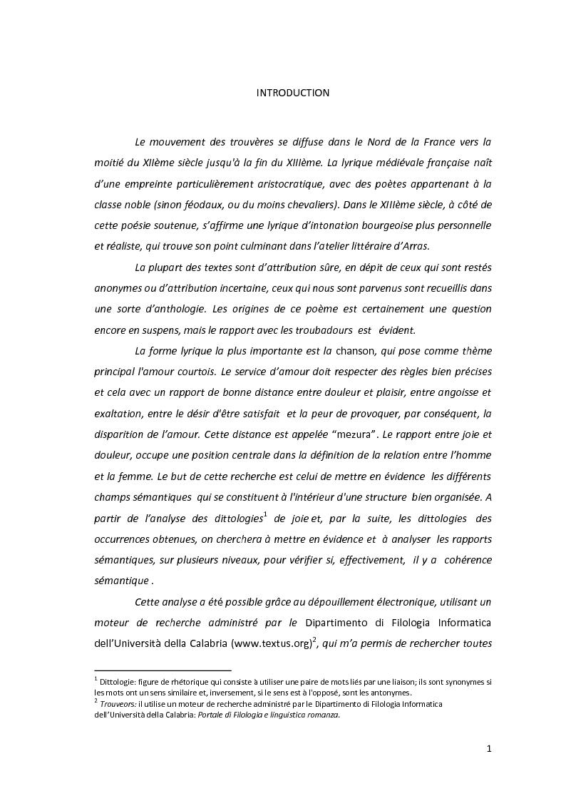 Anteprima della tesi: Le dittologie di joie nella lirica oitanica, Pagina 1