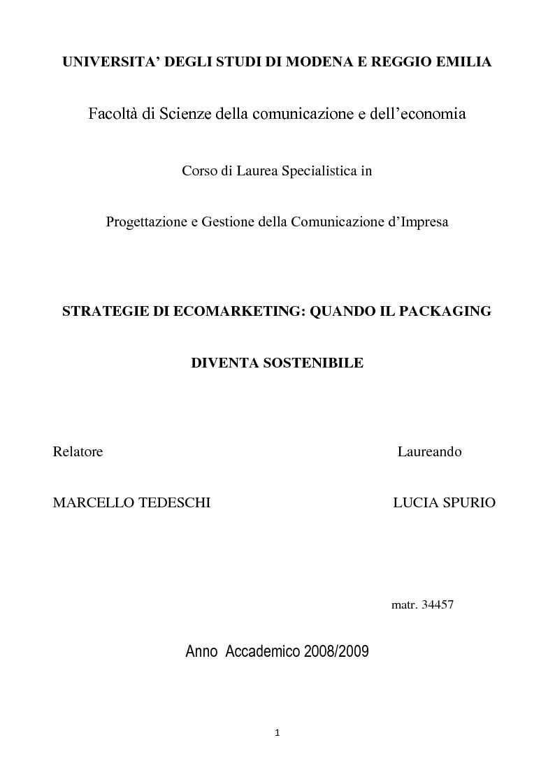 Anteprima della tesi: Strategie di eco-marketing: quando il packaging diventa sostenibile, Pagina 1