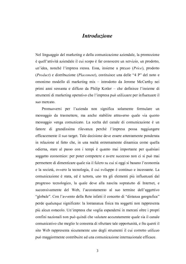 Anteprima della tesi: La promozione internazionale attraverso i siti Web: il caso Barilla, Pagina 1