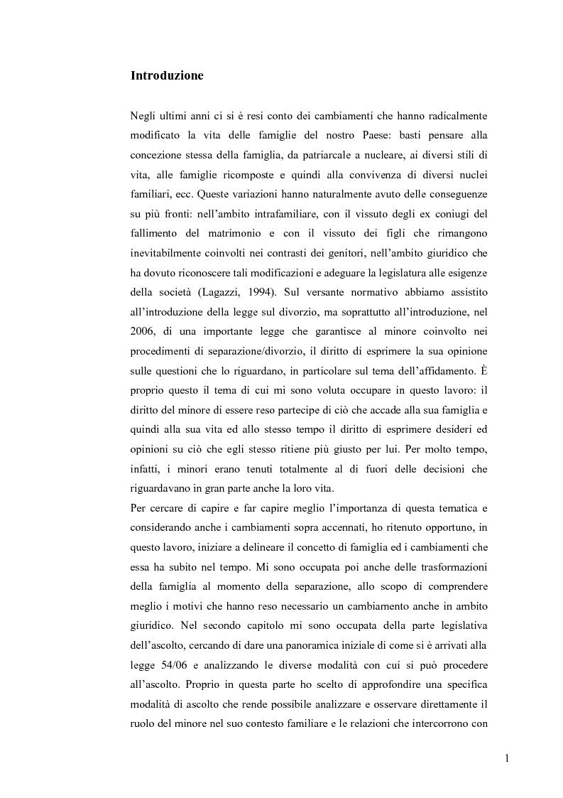Anteprima della tesi: L'ascolto del minore nei procedimenti di separazione e divorzio, Pagina 1