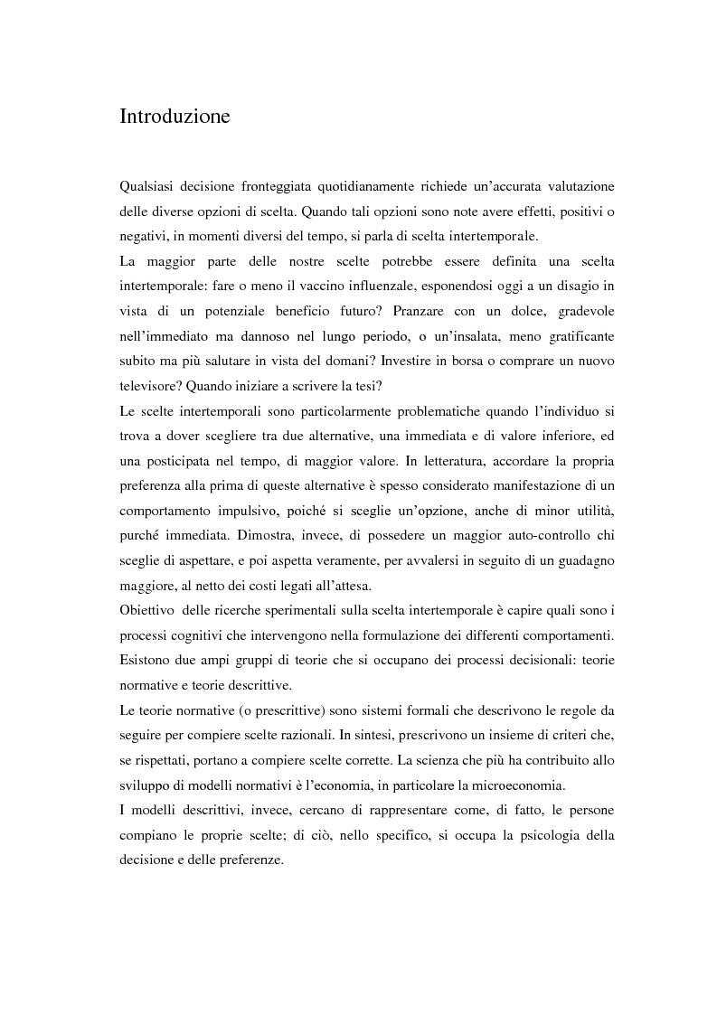 Anteprima della tesi: Processi cognitivi nelle decisioni di consumo intertemporale: evidenze sperimentali e implicazioni per la teoria del marketing, Pagina 1