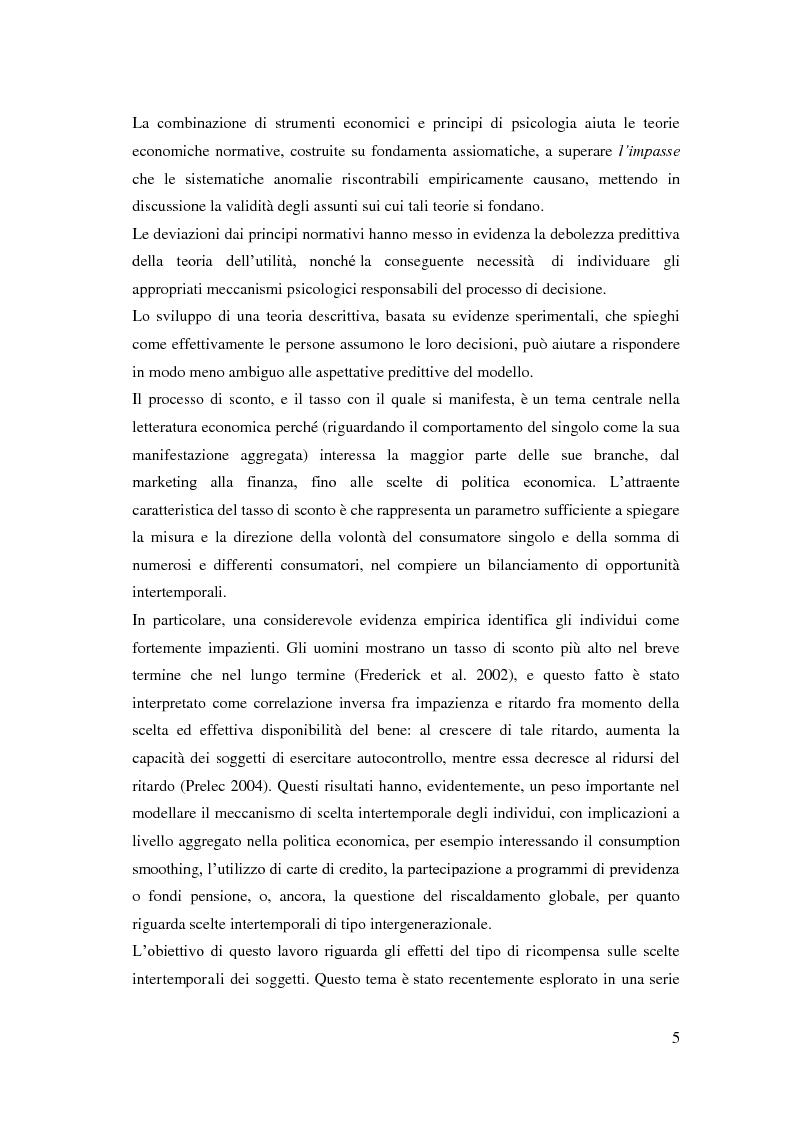 Anteprima della tesi: Processi cognitivi nelle decisioni di consumo intertemporale: evidenze sperimentali e implicazioni per la teoria del marketing, Pagina 2