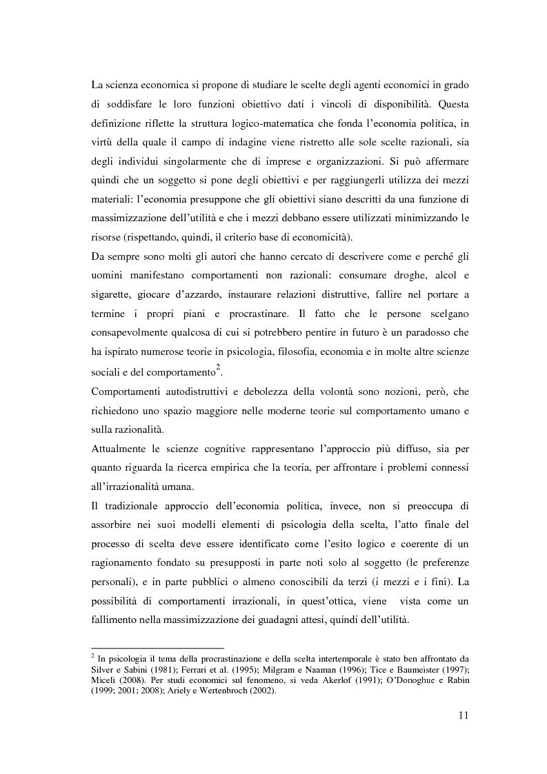 Anteprima della tesi: Processi cognitivi nelle decisioni di consumo intertemporale: evidenze sperimentali e implicazioni per la teoria del marketing, Pagina 8