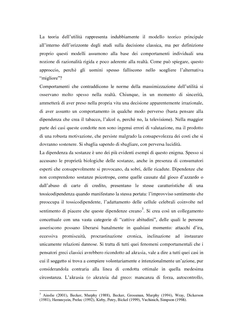 Anteprima della tesi: Processi cognitivi nelle decisioni di consumo intertemporale: evidenze sperimentali e implicazioni per la teoria del marketing, Pagina 9