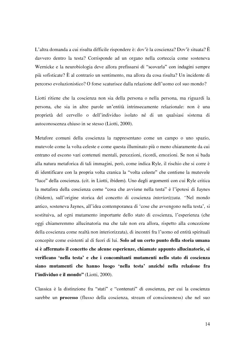 Anteprima della tesi: Il problema della coscienza e il fenomeno delle personalità multiple secondo una prospettiva fenomenologica, Pagina 10