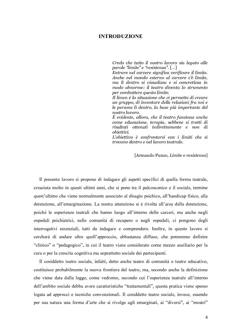Anteprima della tesi: ''Le voci di dentro''. Percorsi e metodologie del teatro in carcere in Emilia Romagna, Pagina 1