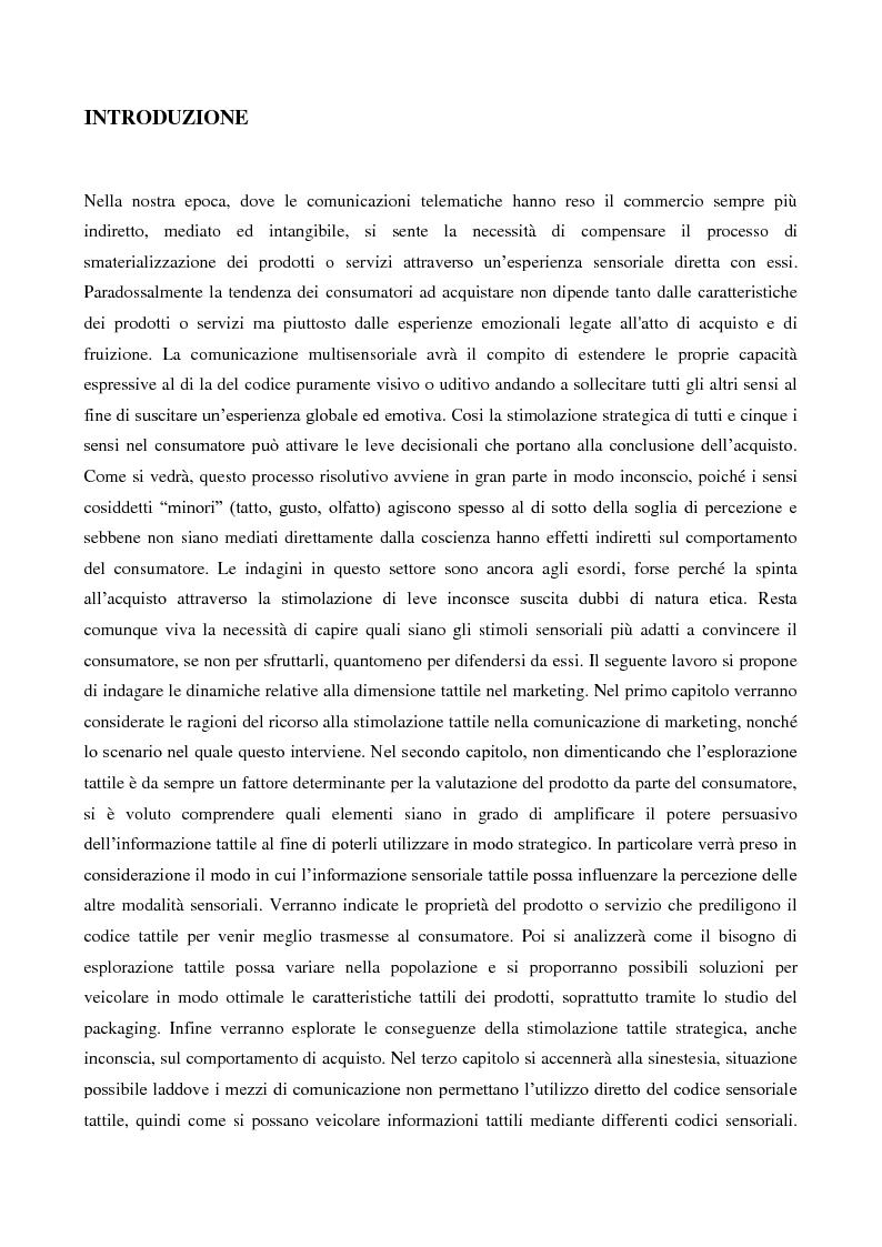 Anteprima della tesi: Marketing multisensoriale: la dimensione tattile, Pagina 1
