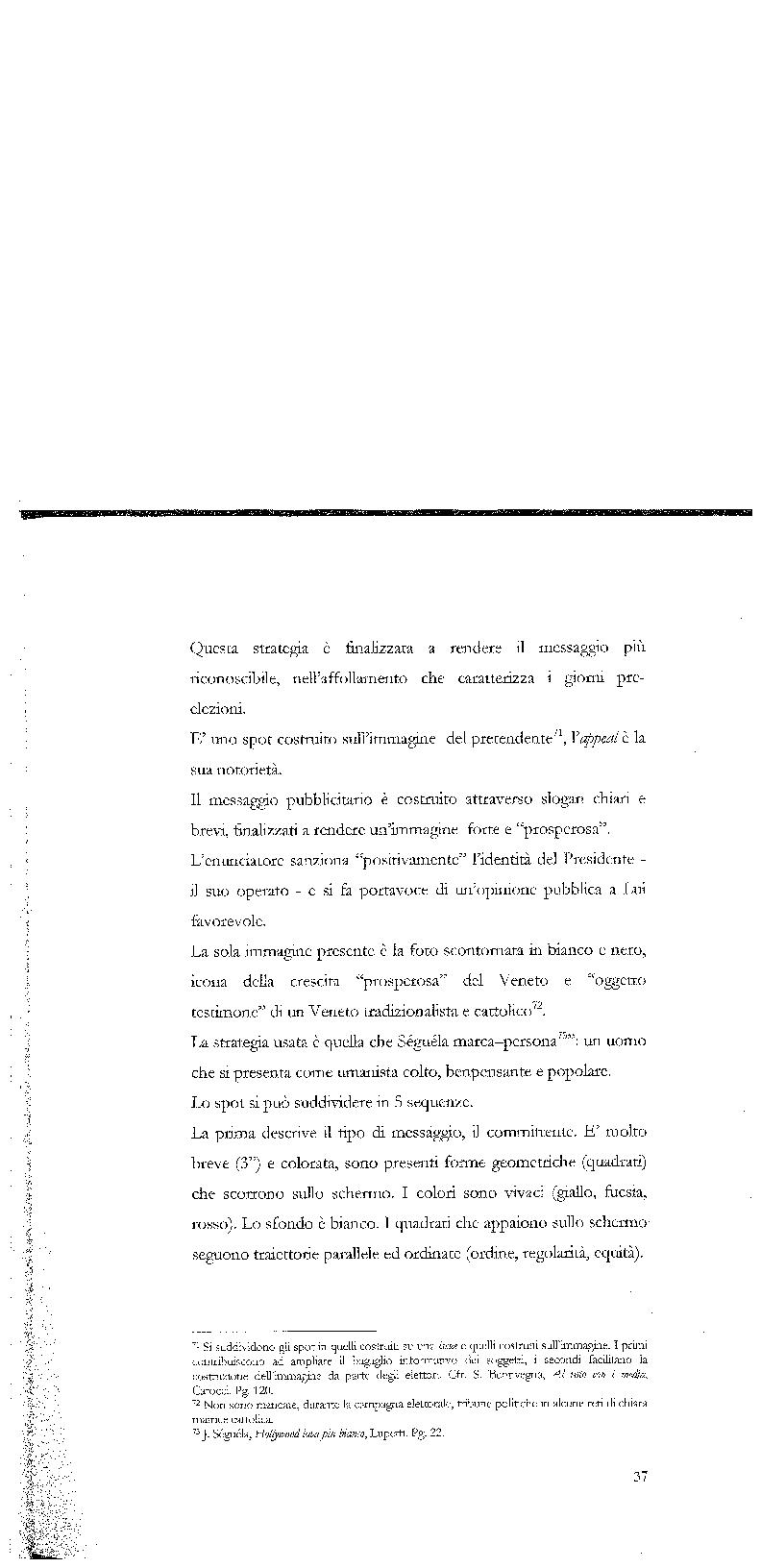 Anteprima della tesi: Strategie di persuasione elettorale durante le regionali 2005 in Veneto, Pagina 7