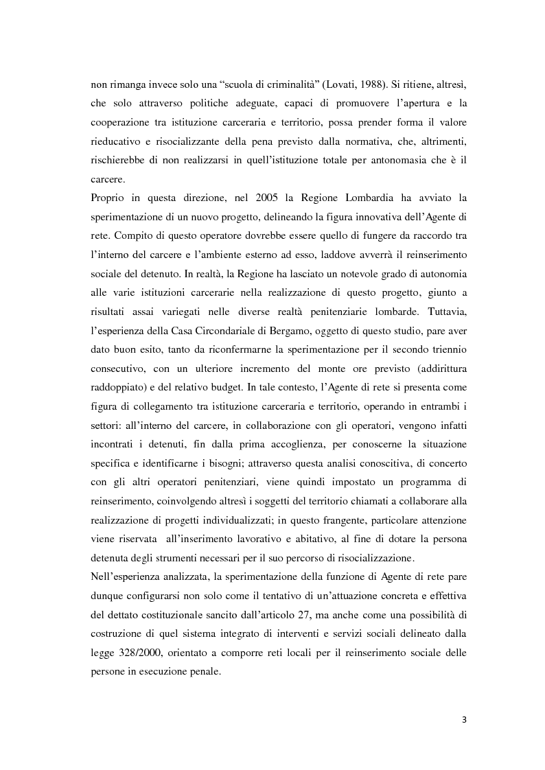 Anteprima della tesi: Tra carcere e territorio: la sperimentazione dell'agente di rete per il reinserimento sociale dei detenuti. L'esperienza della casa circondariale di Bergamo., Pagina 2
