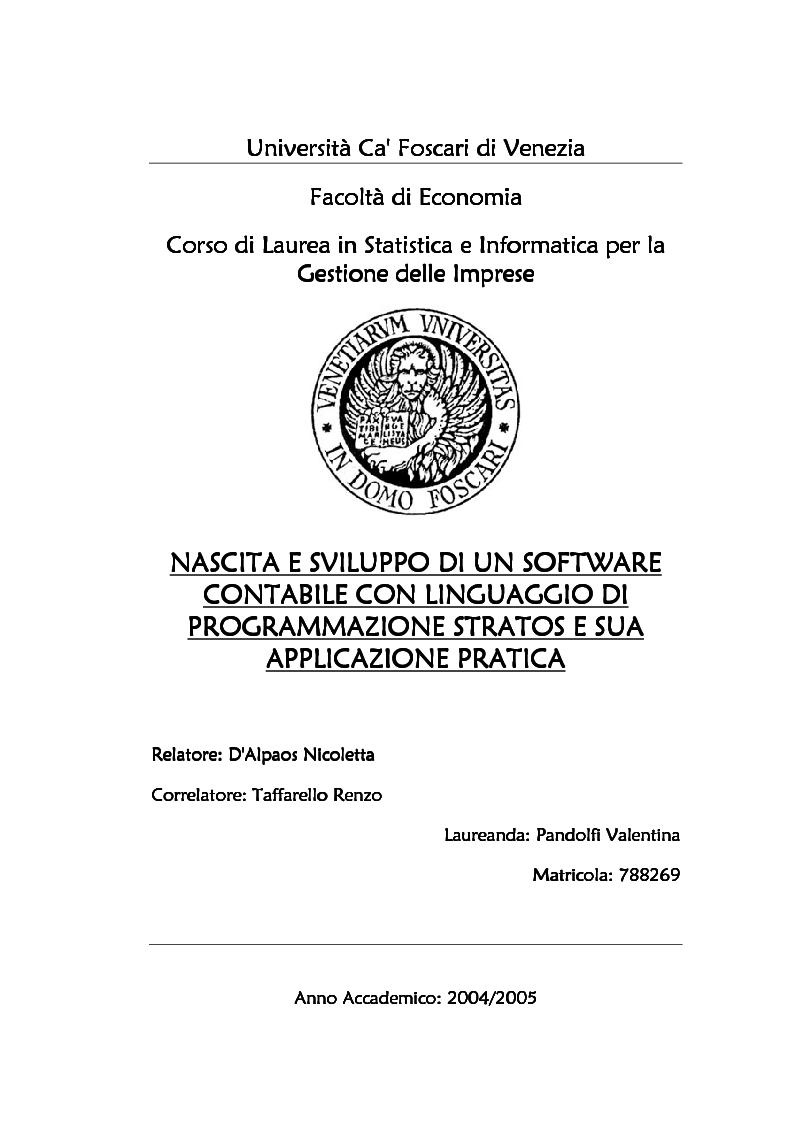Anteprima della tesi: Nascita e sviluppo di un software contabile con linguaggio di programmazione Stratos e sua applicazione pratica, Pagina 1