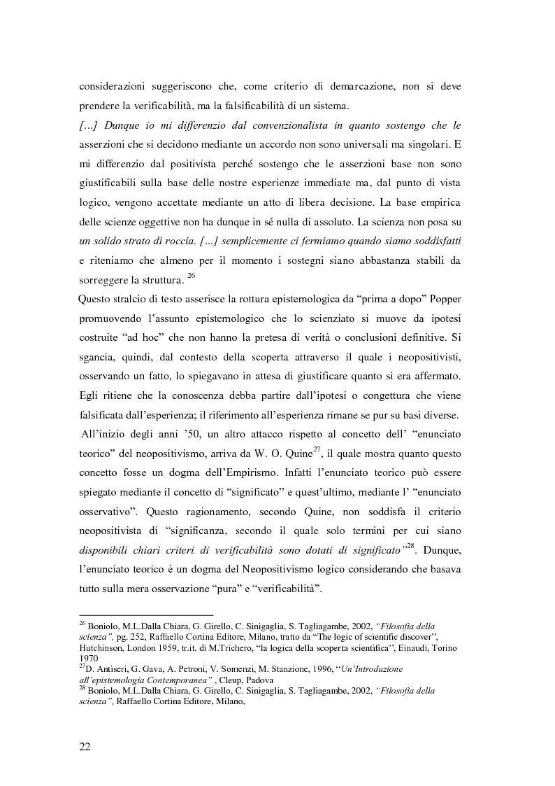 Estratto dalla tesi: Rilievi epistemologici e metodologici della valutazione dell'efficacia in ambito socio-sanitario e una ricerca empirica in Sert di due regioni italiane