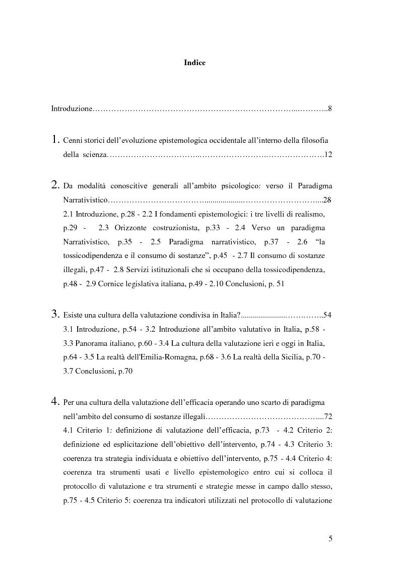 Indice della tesi: Rilievi epistemologici e metodologici della valutazione dell'efficacia in ambito socio-sanitario e una ricerca empirica in Sert di due regioni italiane, Pagina 1