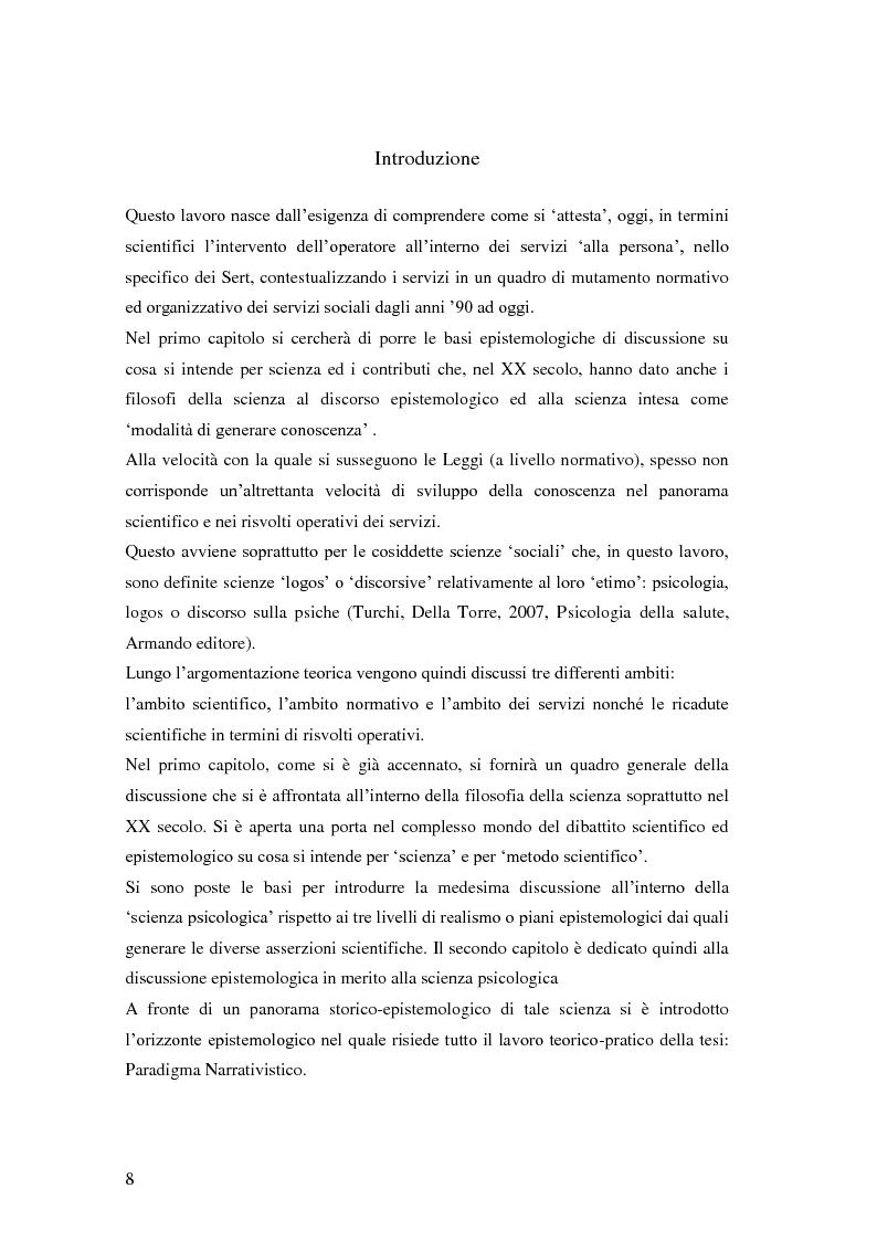 Anteprima della tesi: Rilievi epistemologici e metodologici della valutazione dell'efficacia in ambito socio-sanitario e una ricerca empirica in Sert di due regioni italiane, Pagina 1