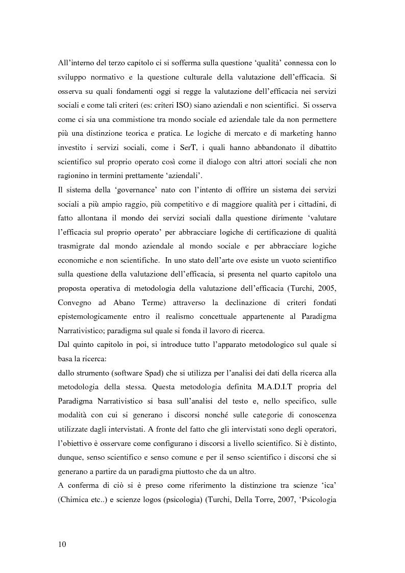 Anteprima della tesi: Rilievi epistemologici e metodologici della valutazione dell'efficacia in ambito socio-sanitario e una ricerca empirica in Sert di due regioni italiane, Pagina 3
