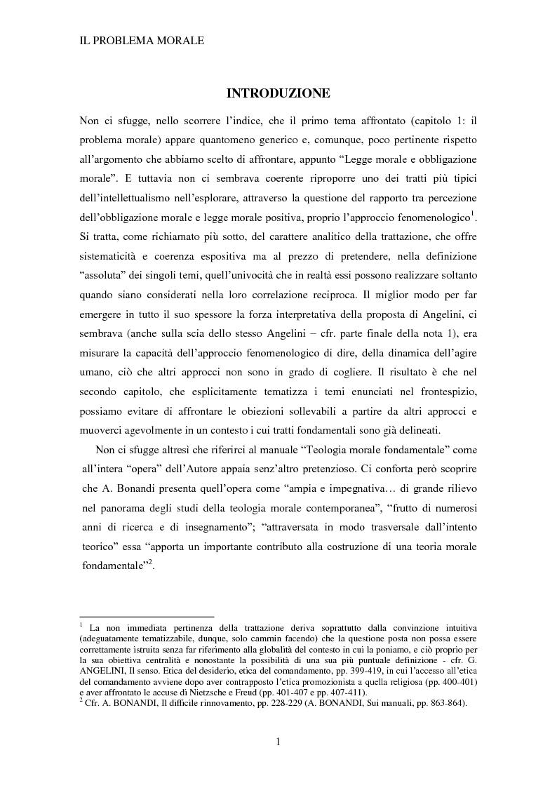 Legge morale ed obbligazione morale - L'approccio fenomenologico in Giuseppe Angelini - Tesi di Laurea