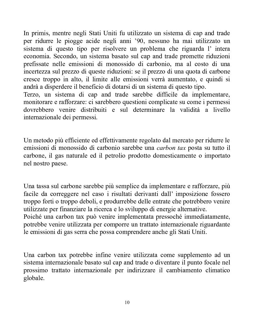 Anteprima della tesi: Una Carbon Tax è una risposta più efficace al Global Warming del Cap and Trade, Pagina 3