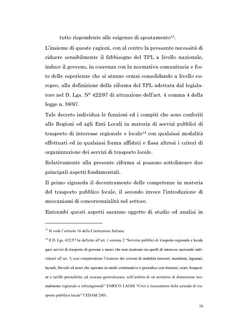 Anteprima della tesi: Le imprese di pubblici trasporti locali - Problematiche di finanziamento dello sviluppo, Pagina 13