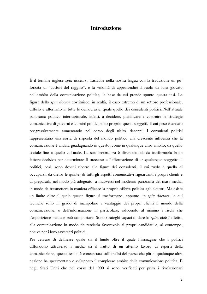 Anteprima della tesi: La comunicazione politica negli USA, il ruolo degli Spin Doctors, Pagina 1