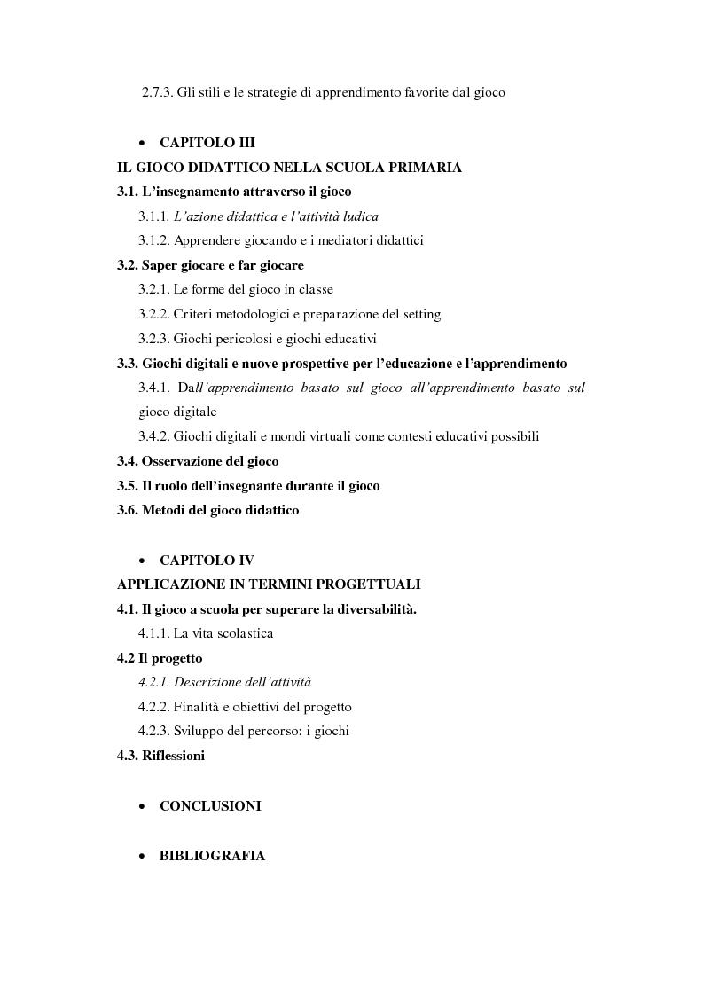 Indice della tesi: Forme e metodi del gioco didattico nella scuola primaria, Pagina 2