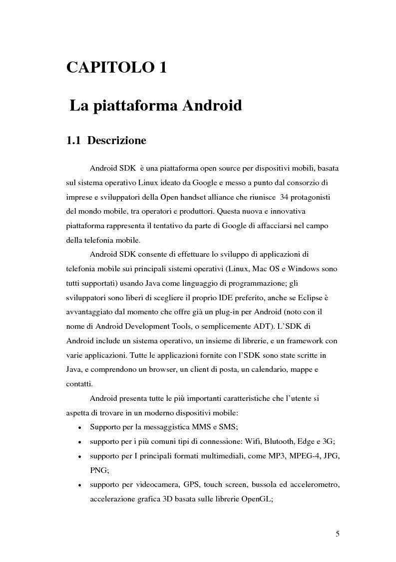 Anteprima della tesi: Progettazione e sviluppo di un'applicazione di recommendation per dispositivi mobili tramite la piattaforma Android, Pagina 1