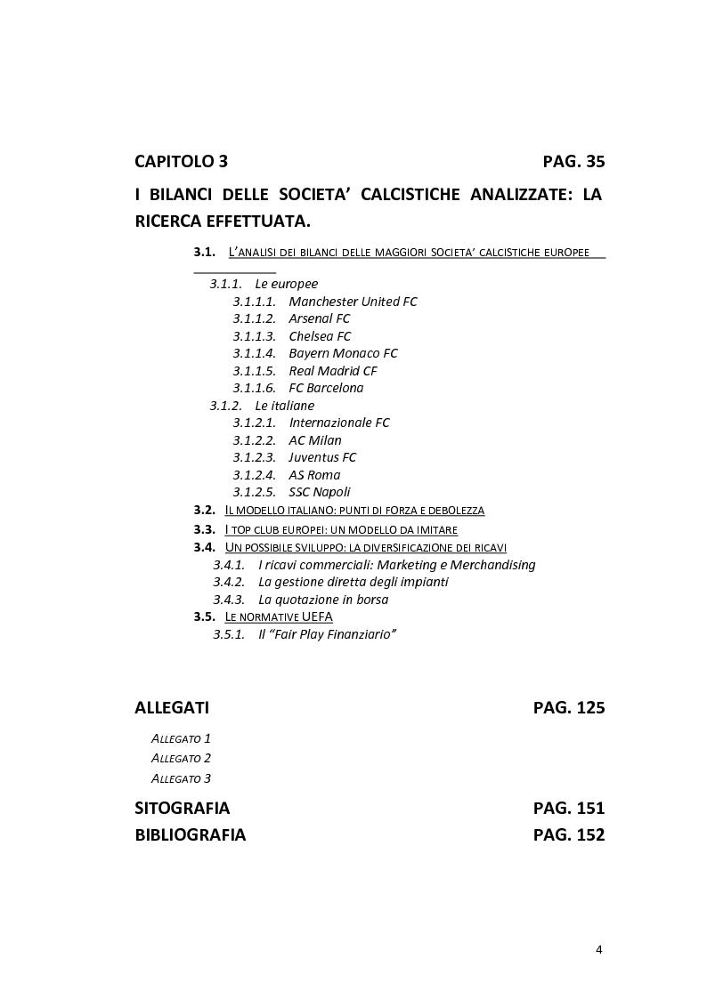 Indice della tesi: La gestione delle società calcistiche italiane: analisi economico-finanziaria e prospettive di sviluppo strategico - Il confronto con le best practices europee, Pagina 2