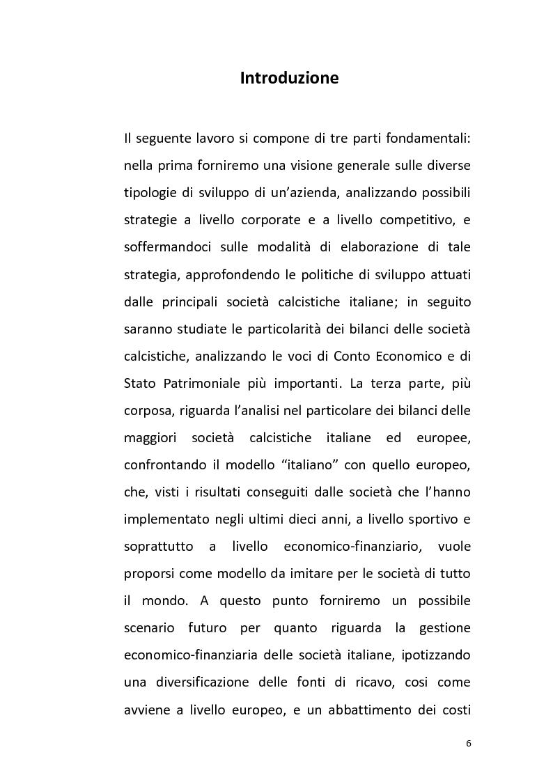 Anteprima della tesi: La gestione delle società calcistiche italiane: analisi economico-finanziaria e prospettive di sviluppo strategico - Il confronto con le best practices europee, Pagina 1