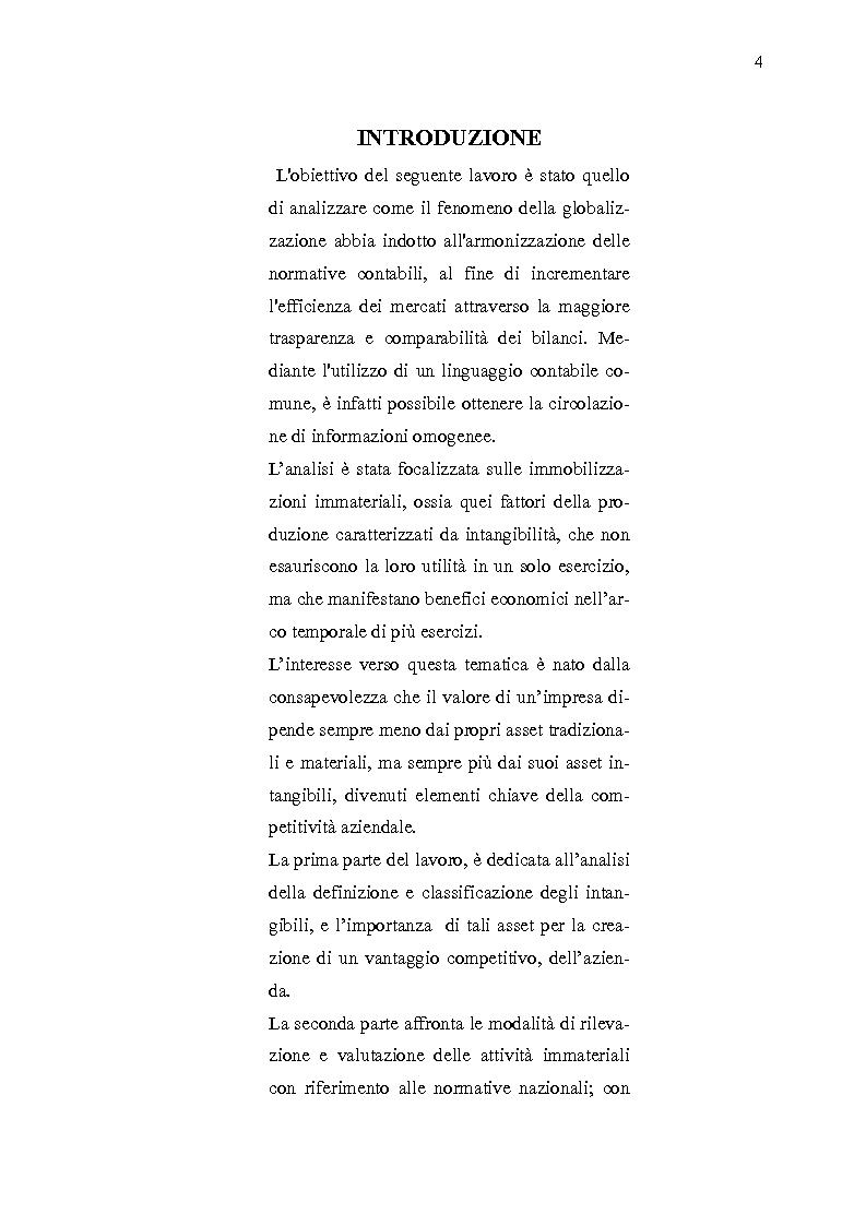 La valutazione in bilancio delle immobilizzazioni immateriali: un confronto tra PCN e IAS/IFRS - Tesi di Laurea