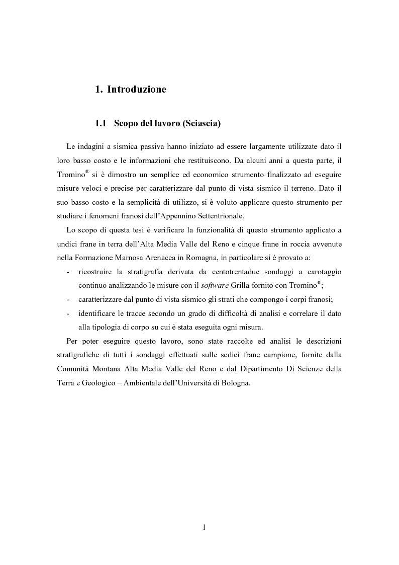 Valutazione dello spessore dei corpi di frana tramite sismica passiva tromografica - Tesi di Laurea