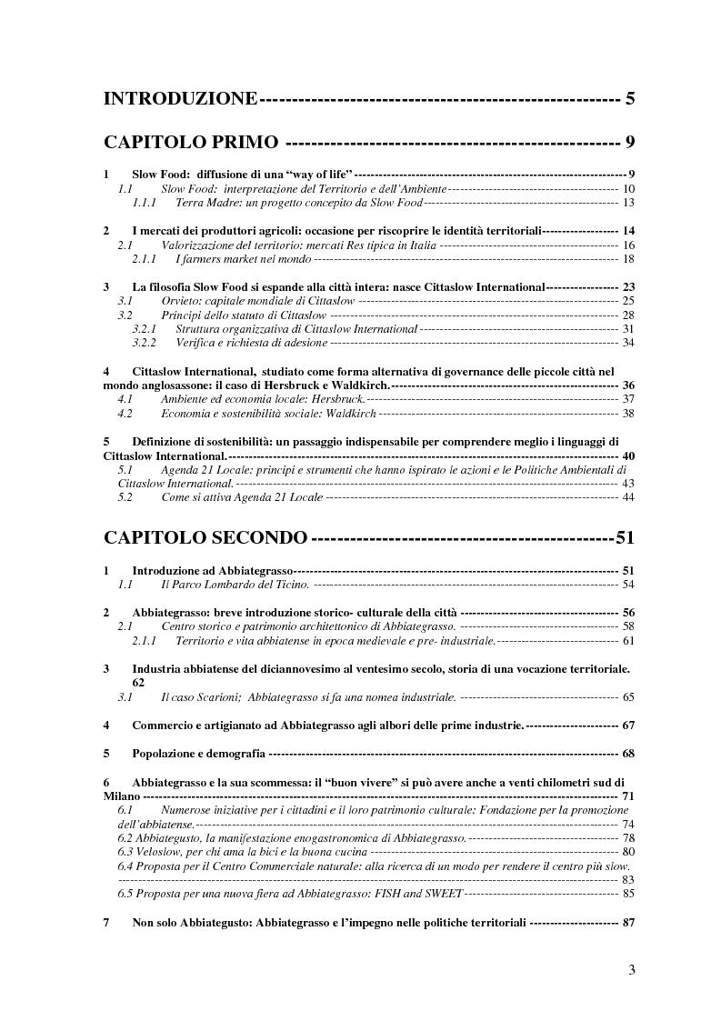 Indice della tesi: Patrimonio locale e sostenibilità al servizio dei piccoli centri urbani: Cittaslow International, Pagina 1