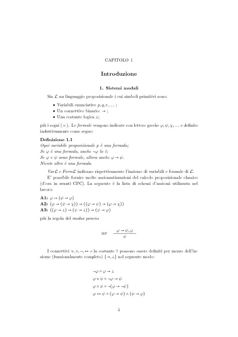 Aspetti semantici della logica proposizionale modale - Tesi di Laurea