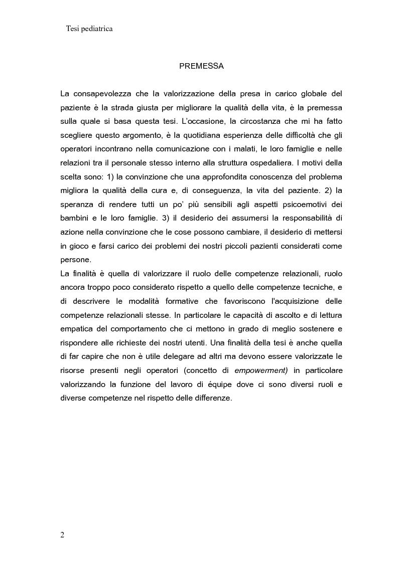 Aspetti relazionali nell'assistenza infermieristica in pediatria - Tesi di Laurea