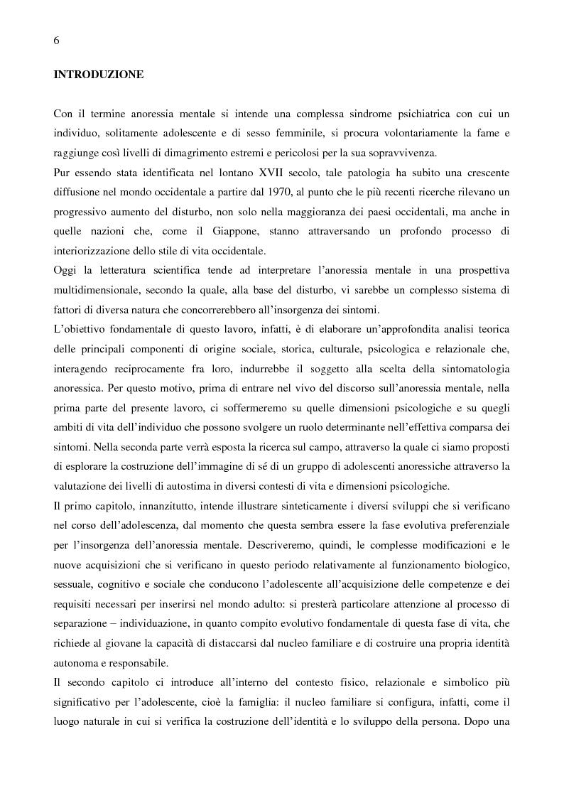 L'anoressia mentale in adolescenza: analisi multidimensionale dell'autostima - Tesi di Laurea