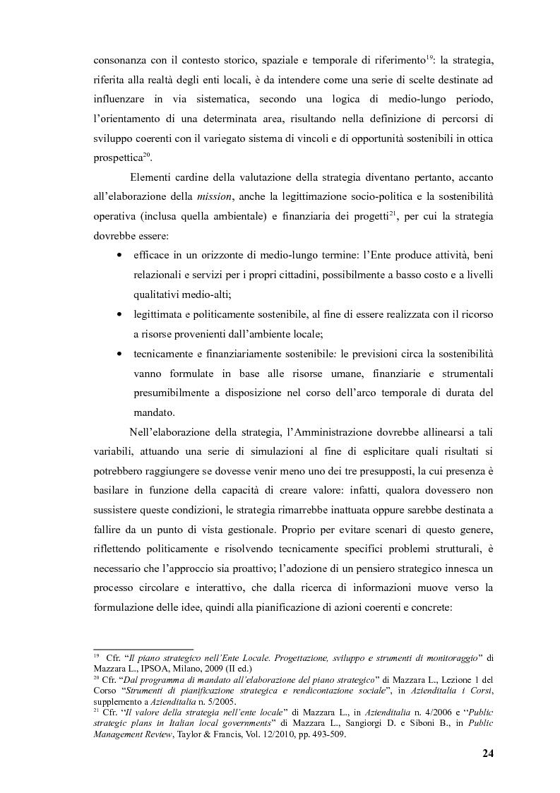 Estratto dalla tesi: La pianificazione strategica nelle amministrazioni pubbliche locali: stato dell'arte in un campione di enti