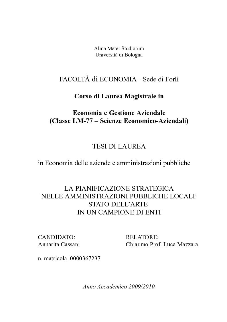 Anteprima della tesi: La pianificazione strategica nelle amministrazioni pubbliche locali: stato dell'arte in un campione di enti, Pagina 1