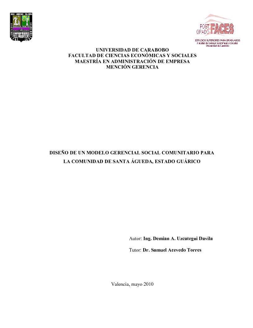 Anteprima della tesi: Diseño de un Modelo Gerencial Social Comunitario, Pagina 1