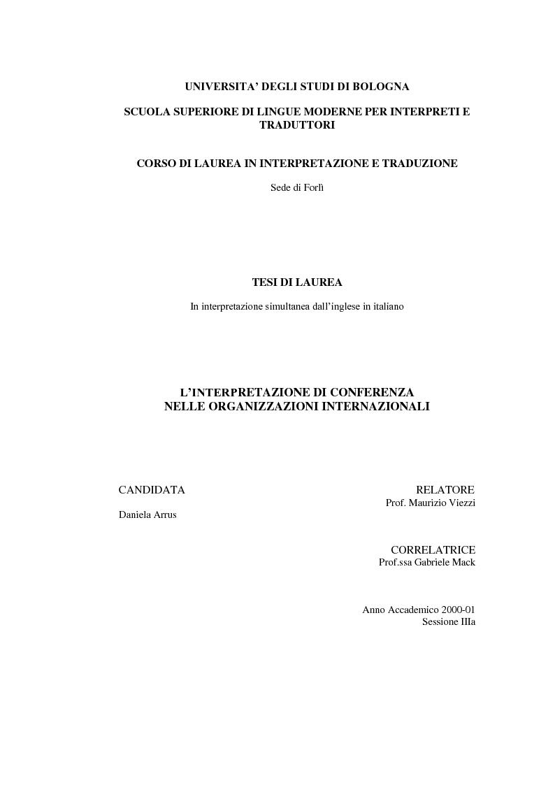 Anteprima della tesi: L'interpretazione di conferenza nelle organizzazioni internazionali, Pagina 1