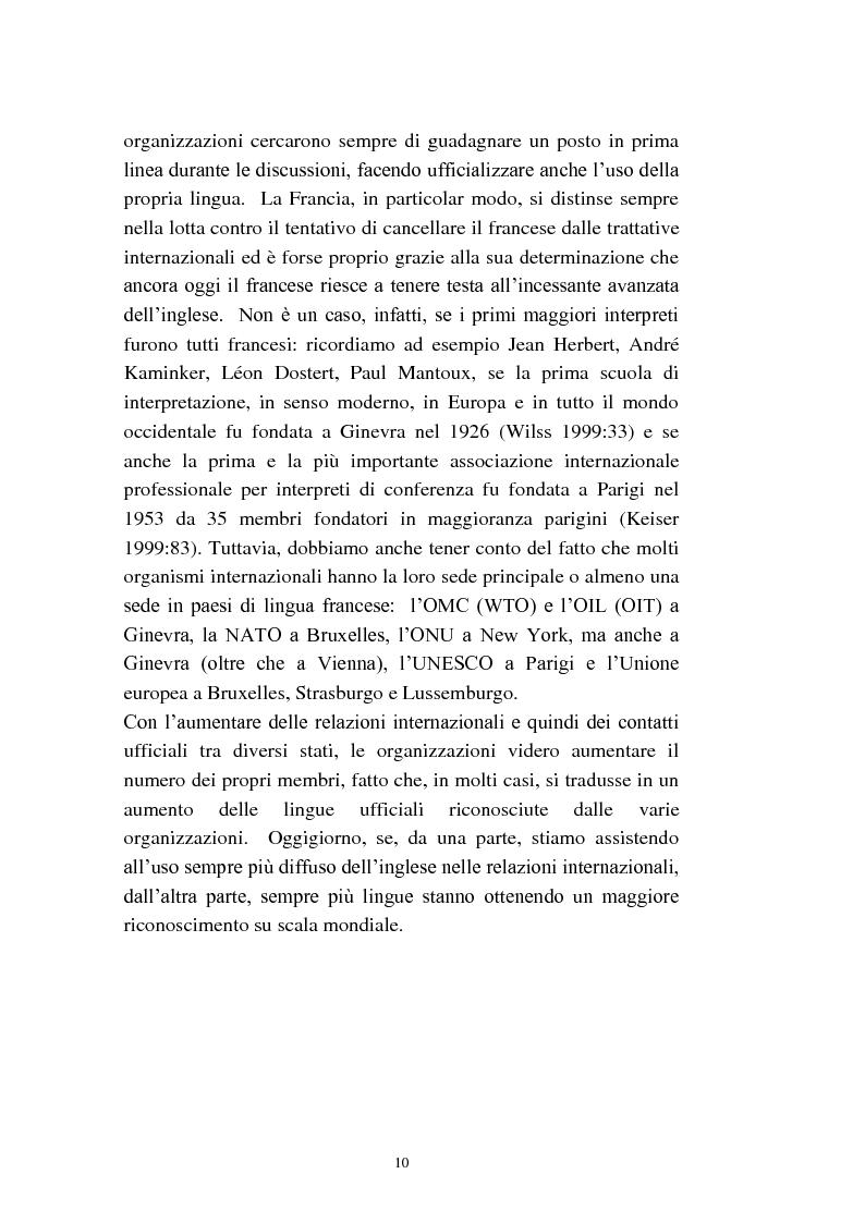 Anteprima della tesi: L'interpretazione di conferenza nelle organizzazioni internazionali, Pagina 12