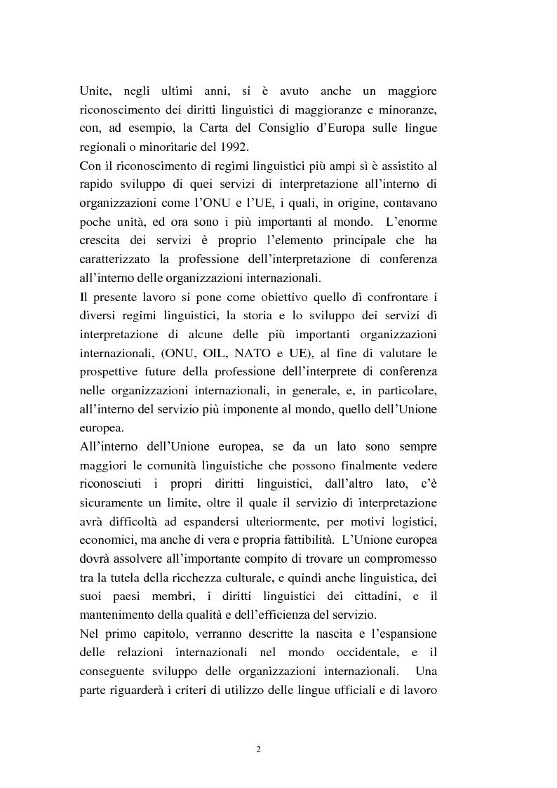 Anteprima della tesi: L'interpretazione di conferenza nelle organizzazioni internazionali, Pagina 4