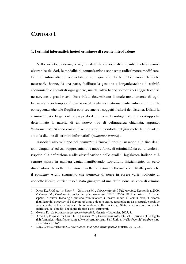 La tutela penale del domicilio informatico - Tesi di Laurea