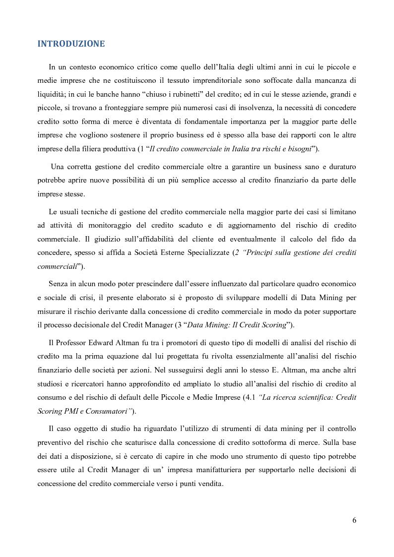 La valutazione del credito commerciale tramite l'utilizzo di modelli di Data Mining per il Credit Scoring: Un caso appli...