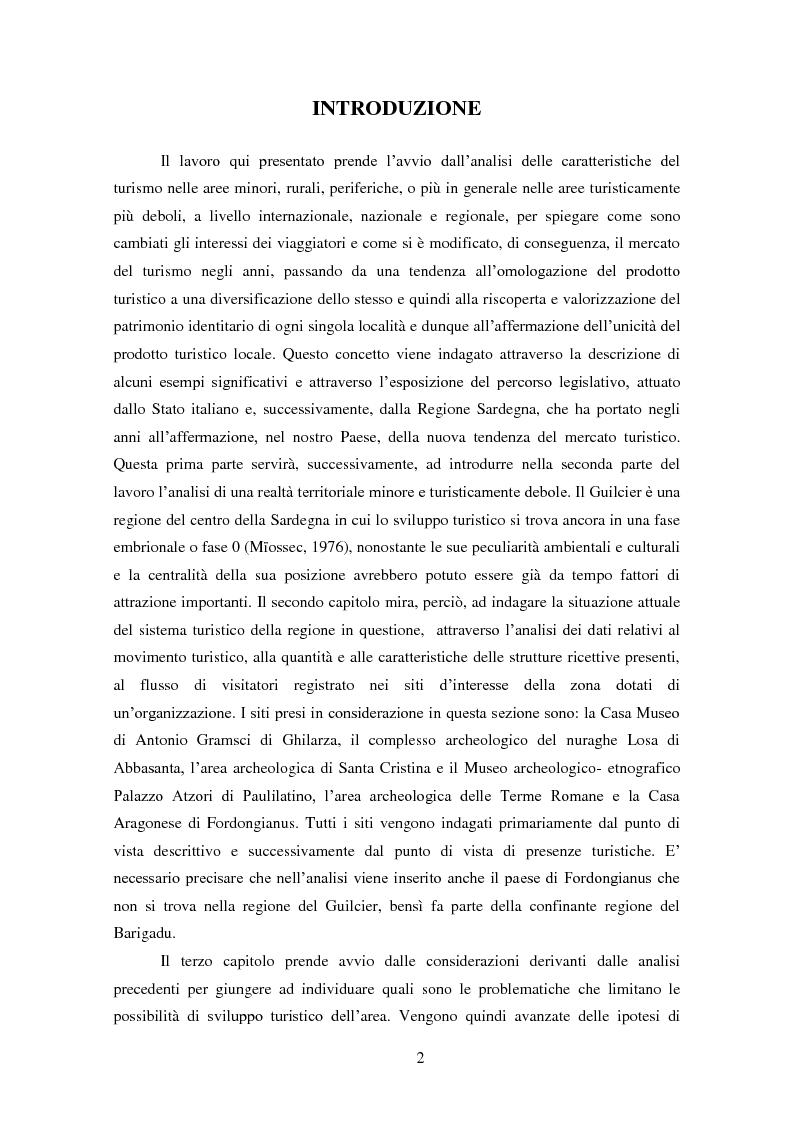 Anteprima della tesi: Analisi e ipotesi di sviluppo del sistema turistico del Guilcier, Pagina 2