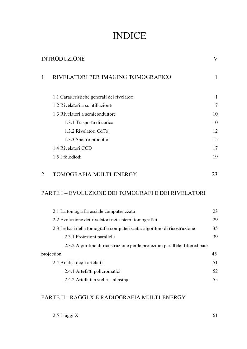 Indice della tesi: Nuove tecniche di radiologia diagnostica: caratterizzazione per immagini di un sistema tomografico multi-energy con fasci quasi monocromatici, Pagina 1