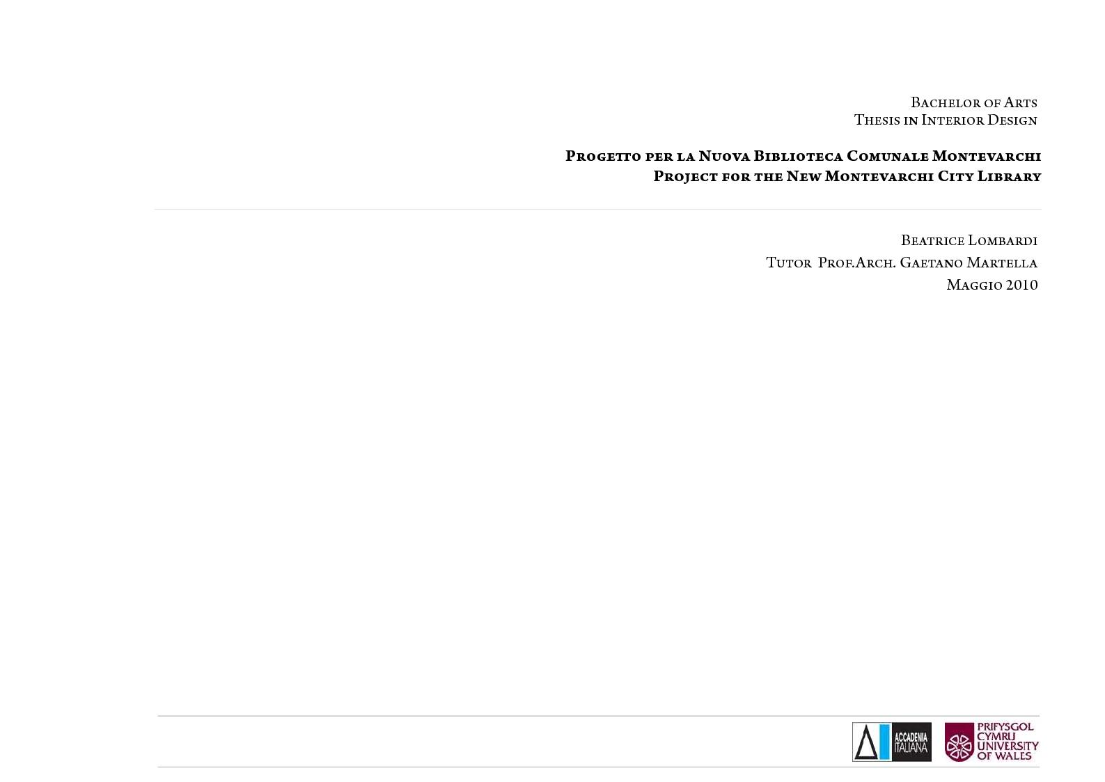 Anteprima della tesi: Progetto per la Nuova Biblioteca Comunale di Montevarchi (AR), Pagina 1