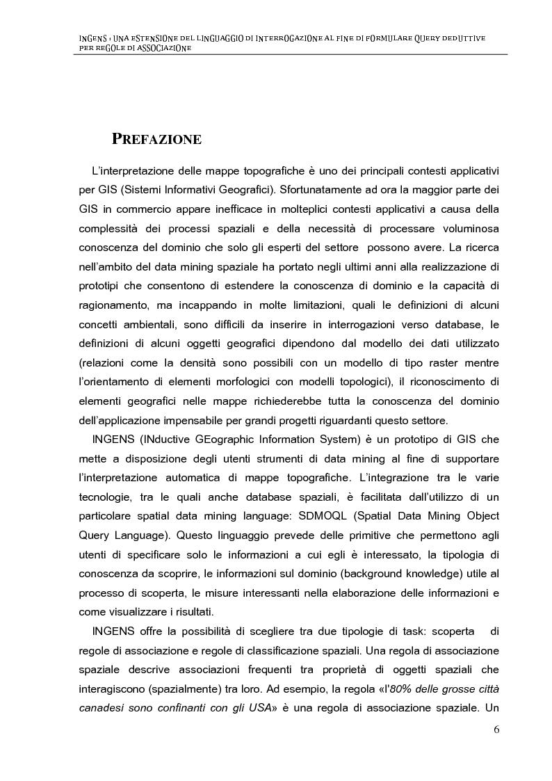 INGENS: Una estensione del linguaggio di interrogazione al fine di formulare query deduttive per regole di associazione ...