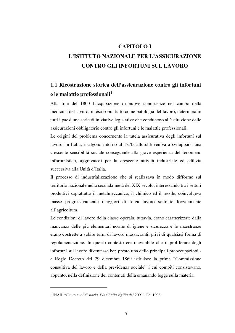 L'Inail ed il modello sanitario: il bilancio delle competenze infermieristiche - Tesi di Laurea