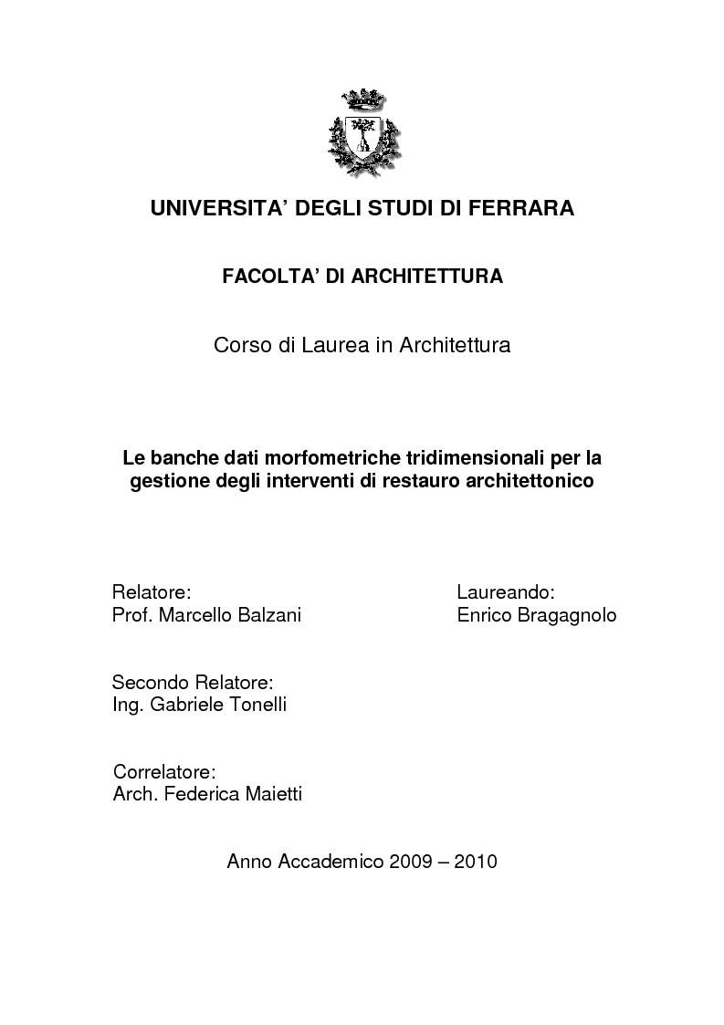 Per la gestione degli interventi di restauro architettonico, pagina 1