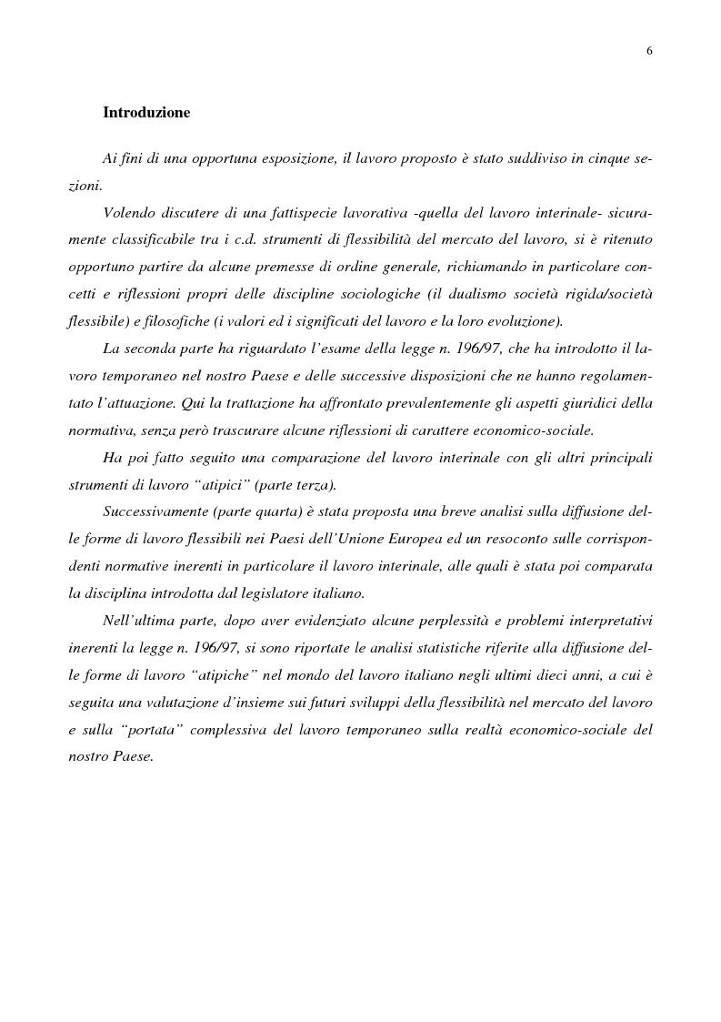 L'introduzione del lavoro interinale in Italia. La sfida della flessibilità: problemi e prospettive - Tesi di Laurea