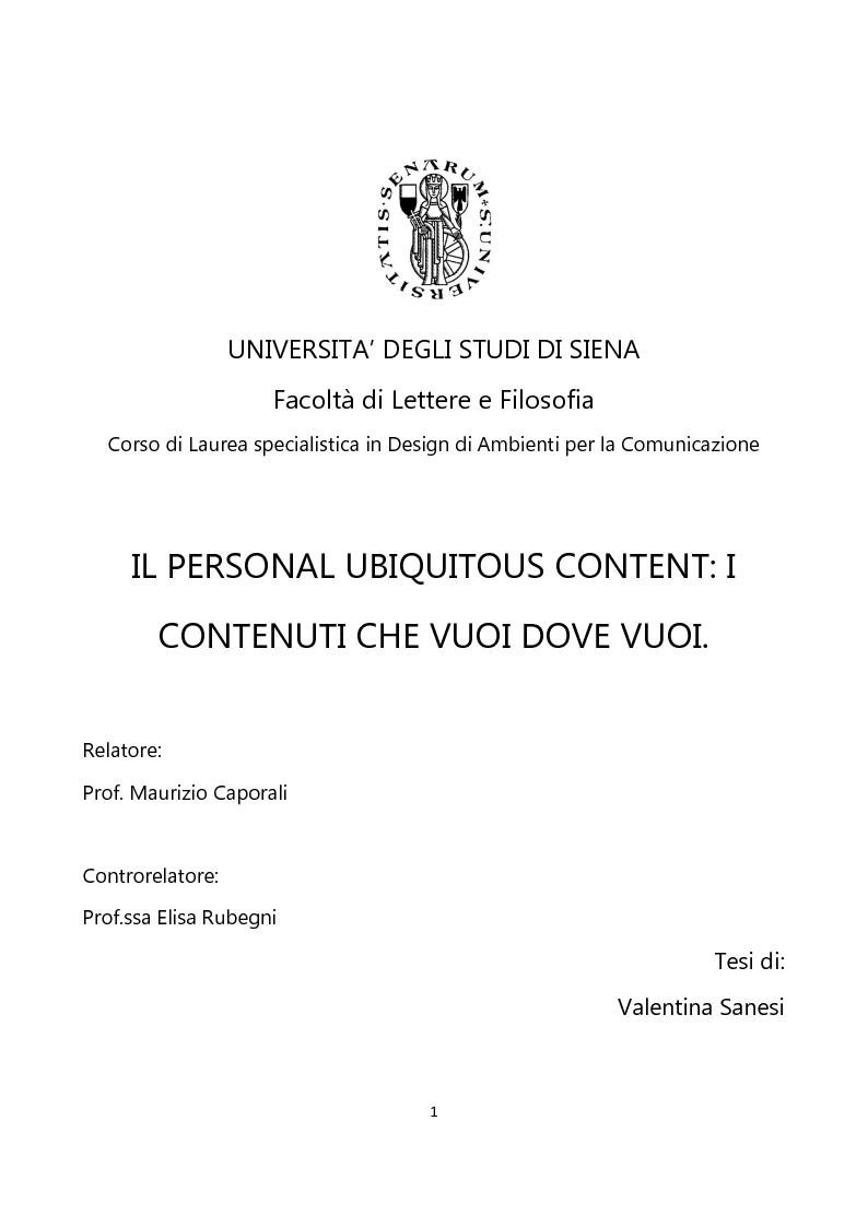 Anteprima della tesi: Il Personal Ubiquitous Content: i contenuti che vuoi dove vuoi, Pagina 1