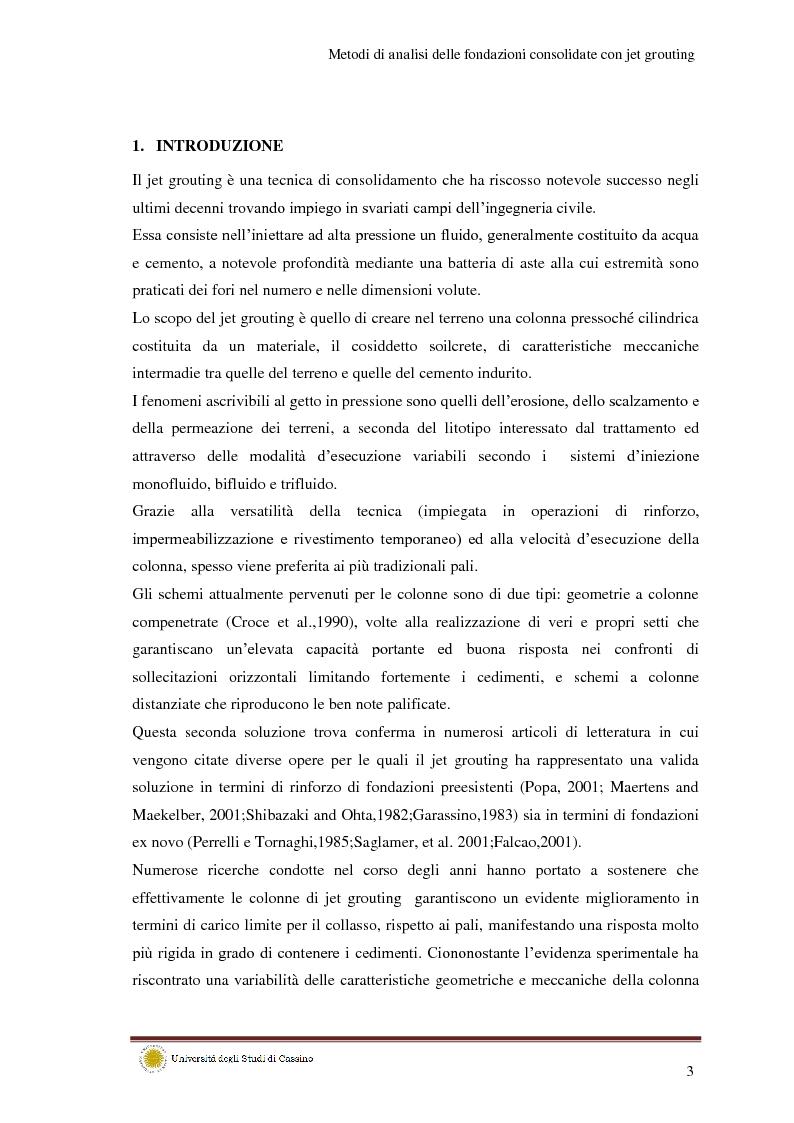 Metodi di analisi per le fondazioni consolidate con jet grouting - Tesi di Laurea
