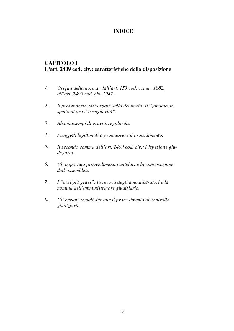 Indice della tesi: Il procedimento di controllo giudiziario ex art. 2409 cod. civ. e la questione degli interessi tutelati, Pagina 1